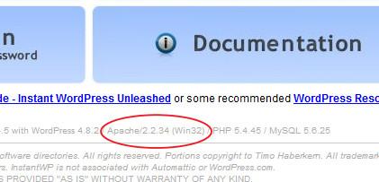 Instant WP Apache バージョン表記修正