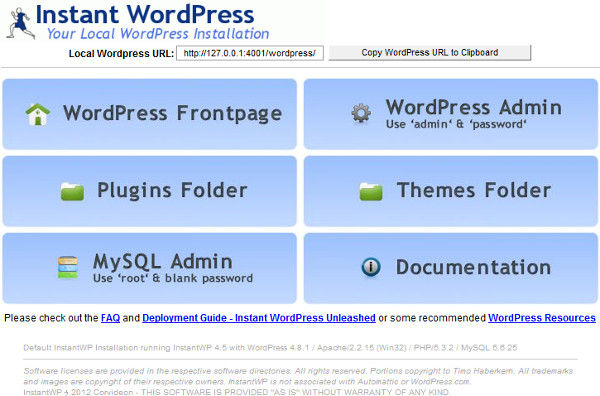 Instant WordPress GUI(起動画面)