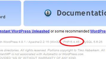 Instant WordPress PHPバージョン表記の書き換え