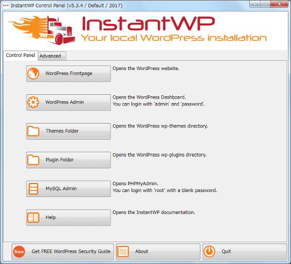 InstantWP Control Panel