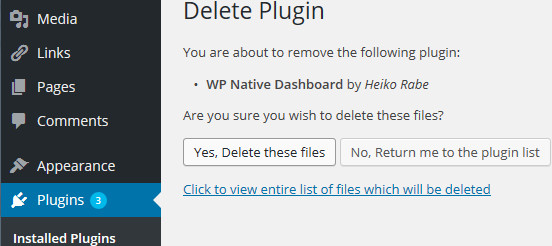 WP Native Dashboard Delete