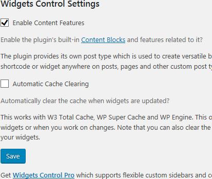 Widgets Controlの設定画面